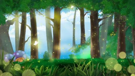 cahaya matahari pokok latar belakang hutan yang indah teknologi taman tema, Cahaya Matahari, Pokok-pokok, Hutan imej latar belakang