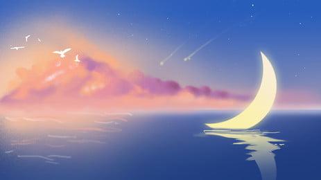 दौर चांदी पर, चाँद, रात को आसमान, सितारों पृष्ठभूमि छवि