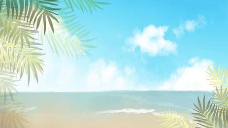 高清海邊背景, 椰子樹, 海邊, 海報banner 背景圖片