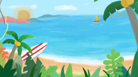 沙灘棕櫚沙灘, 海, 熱帶的, 島 背景圖片