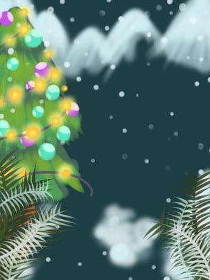 Cây Giáng sinh nền tuyết tươi mát Nền Màu Xanh Hình Nền