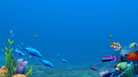 blue underwater world background, Fish, Coral, Seabed Background image