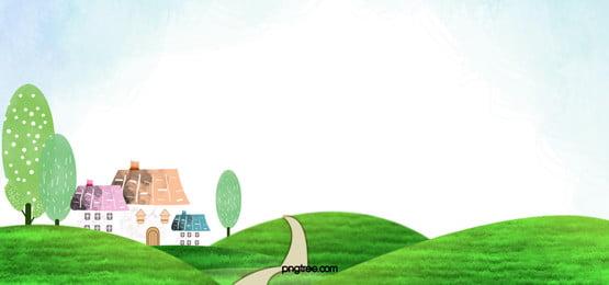 cartoon background, Cartoon, Lawn, Greenbelt Background image