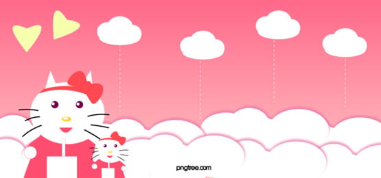 キュート ピンク こんにちは キティー 背景, 猫, キティー, 漫画 背景画像