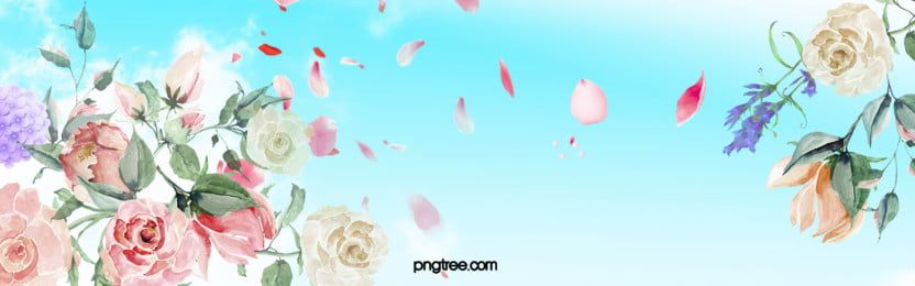 watercolor pink flowers sky background, Blue Sky, Petals, Flowers Background image