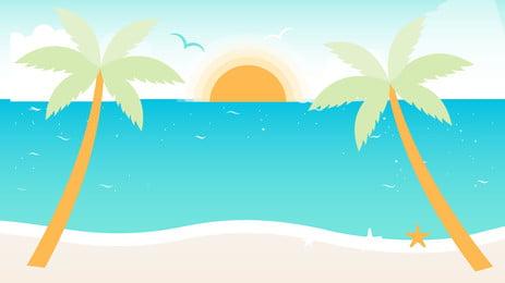晴朗夏日海邊風景, 藍天, 大海, 白雲 背景圖片