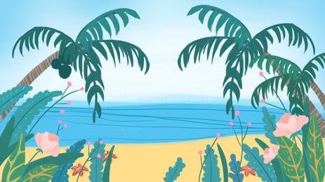 夏日藍天海邊風景, 藍天, 大海, 白雲 背景圖片