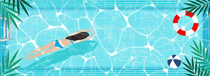 水泳, 靑い, プール, 水泳 背景画像