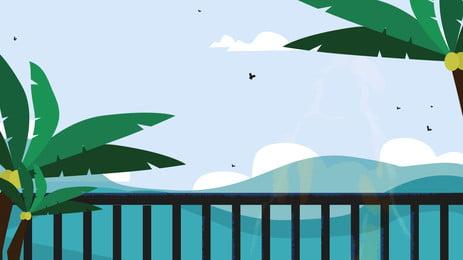 海邊寫真, 吊床, 海邊, 藍天 背景圖片
