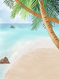सुंदर समुद्र तट फोटोग्राफी आंकड़ा , समुद्र तट, सूर्यास्त, उष्णकटिबंधीय पेड़ पृष्ठभूमि छवि