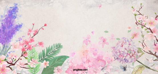 Taobao Hand-painted Watercolor Flower, Pink, Watercolor, Flowers, Background image