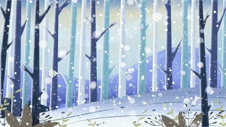 सर्दियों जंगल, सर्दियों, बर्फ, जंगल पृष्ठभूमि छवि
