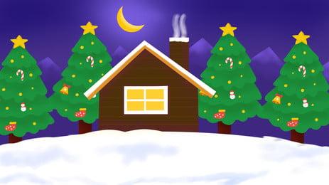 Christmas Night Background Christmas Tree Snow House, Christmas, Night, View, Background image
