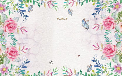 कल्पना फूल के साथ तितली, नीले, शैम्पेन रंग, गुलाब पृष्ठभूमि छवि