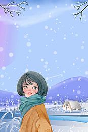 手描きの雨の日の女の子の小熊の背景図 手描き 漫画 女の子 背景画像