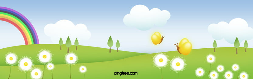 Cartoon Outskirts Spring Flowers Small Fresh Banner, Cartoon, Spring, Outskirts, Background image