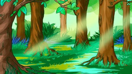 солнце сквозь лес, солнце после дождя, лес, Начало Фоновый рисунок