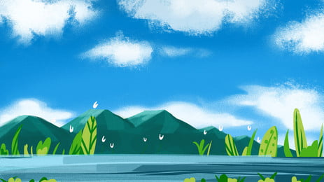 高山道路の日の出風景背景図, 靑山, 日の出, 靑空 背景画像