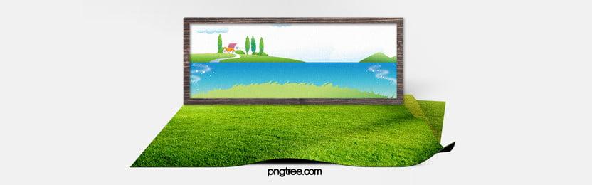 kreatif hijau latar belakang poster, Meadow, Pemandangan Alam, Perjalanan Poster imej latar belakang