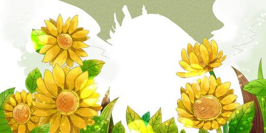 陽光下向日葵背景圖, 向日葵, 陽光, 黃色 背景圖片