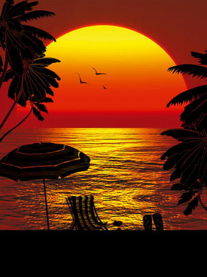beach sunset silhouette sea background , Sun, Sky, Water Background image