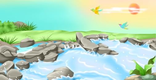 sungai mountain latar belakang, Sungai, Gunung, Bersih imej latar belakang