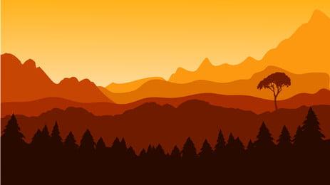 matahari gunung, Matahari Gunung., Pemandangan Gunung, Poster Banner imej latar belakang