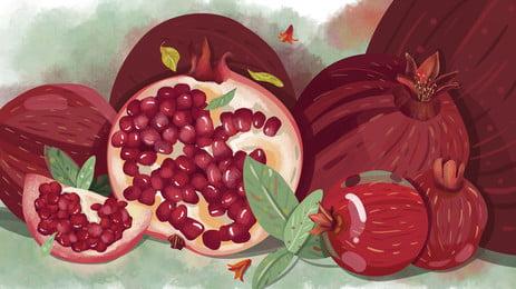 石榴背景 石榴 水果 紅色背景圖庫