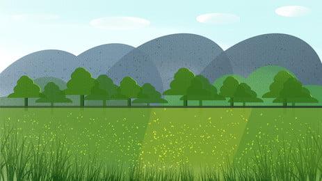 藍天白雲背景, 藍天, 白雲, 草地 背景圖片