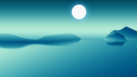 mountain bulan poster latar belakang, Puncak Gunung, Lanskap, Moon imej latar belakang
