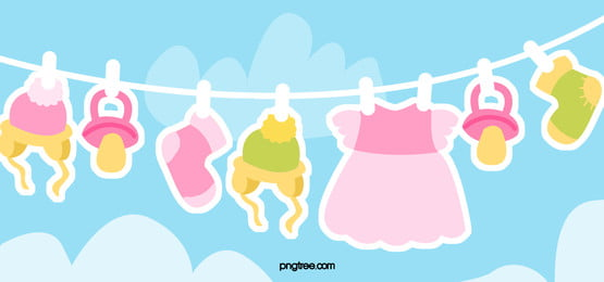 cute cartoon baby clothes blue background, Baby, Clothes, Blue Background image