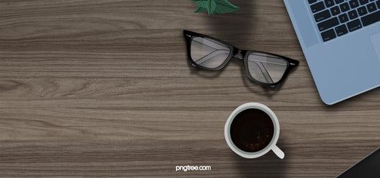 木 デスク コンピュータ 背景, コーヒー, 眼鏡, ラップトップ 背景画像