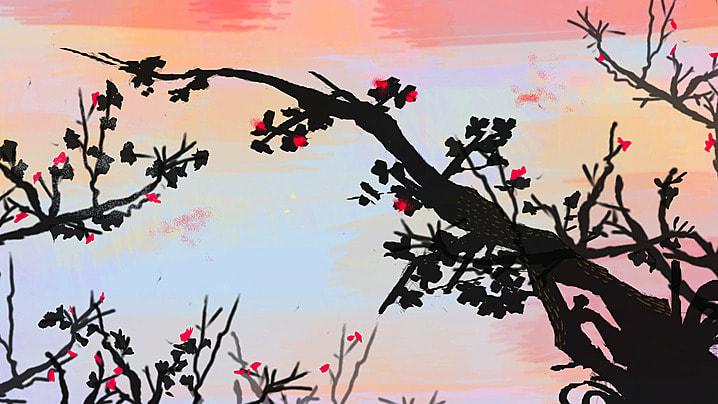 पानी के रंग का स्याही के फूल शाखाओं पृष्ठभूमि, पानी के रंग इंक, पुष्प, शाखाओं पृष्ठभूमि छवि