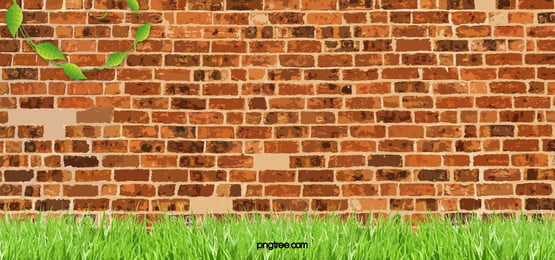 red brick wall fresh green grass background art, Red, Brick, Wall Background image