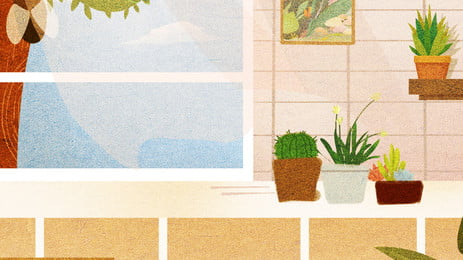 blank frameless paintings and potted plants, Blank, Picture, Frame Background image
