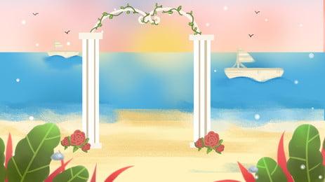 bãi biển những cây cọ biển nhiệt đới nền, Đại Dương., Đảo, Kỳ Nghỉ Ảnh nền