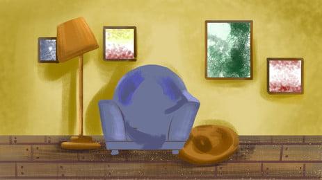 部屋 インテリア 家具 ホーム 背景, ランプ, 快適, 家 背景画像