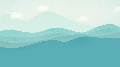 藍色大氣簡約山脈banner背景 山脈 雲 霧背景圖庫