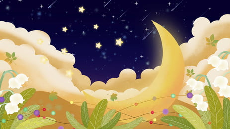 Beautiful Fairy-tale World Poster, Illustration, Star, Moon, Background image
