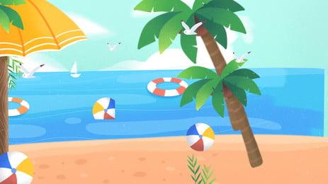陽光海邊沙灘海報背景, 陽光, 海邊, 沙灘 背景圖片