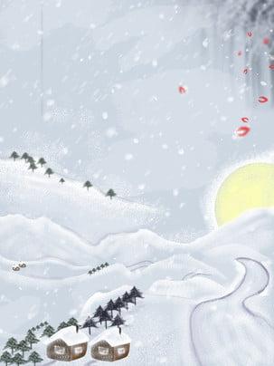純白夢幻雪地背景圖 , 白色世界, 雪地, 結冰 背景圖片