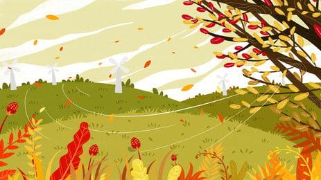 美麗的秋天樹林風景 秋天 樹林 楓葉背景圖庫