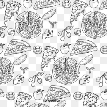 hand painted background pizza seamless vector , Pizza, Food, Fruit Background image