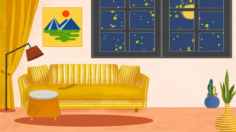 कमरे में नीले रंग की दीवारों  पीले रंग के सोफे, कमरे, नीले, दीवारों पृष्ठभूमि छवि