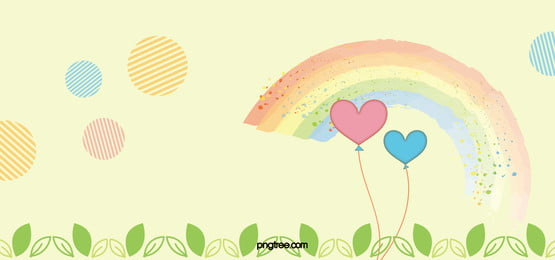 maternal and child painted cartoon balloon rainbow background, Yellow, Mother, Cartoon Background image