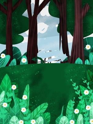 緑の森の日光幻の背景 緑 森 日光 背景画像