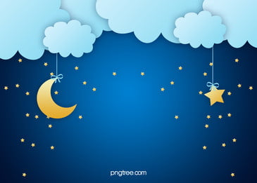 Vector Blue Cartoon Clouds Background Moonlight Children\'s Paintings, Blue, Cartoon, Clouds, Background image