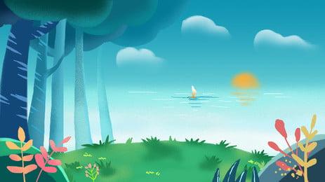ландшафт фонтан дерево лес справочная информация солнце структура небо Фоновое изображение