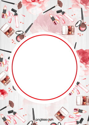 Beauty Cosmetics Vector Watercolor Painted Background, Pink, Watercolor, Makeups, Background image