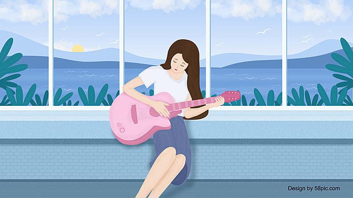 vintage guitar nền màu trắng, Chiếc Vintage., Văn Nghệ, Guitar. Ảnh nền